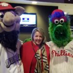 Mish with mascots at IronPigs Charities Game